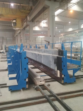 A line for the production of prestressed reinforced concrete beams