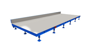 Stationary casting bed and production table